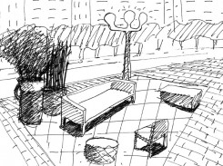 Sketch of street furniture - Photograph by Marc Aurel