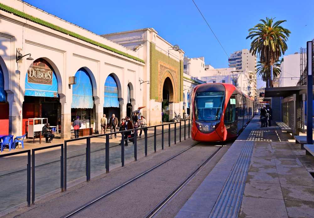 Image of Casablanca central market tram stop - Photograph by R&A