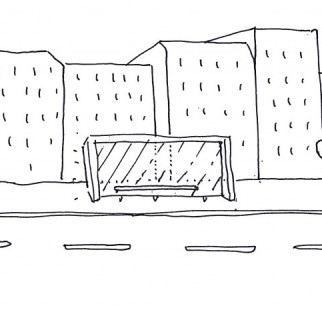 Sketch for Osmose bus shelter project in Paris