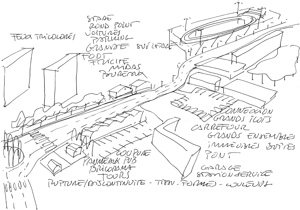 Sketch for Châtillon Viroflay tramway project