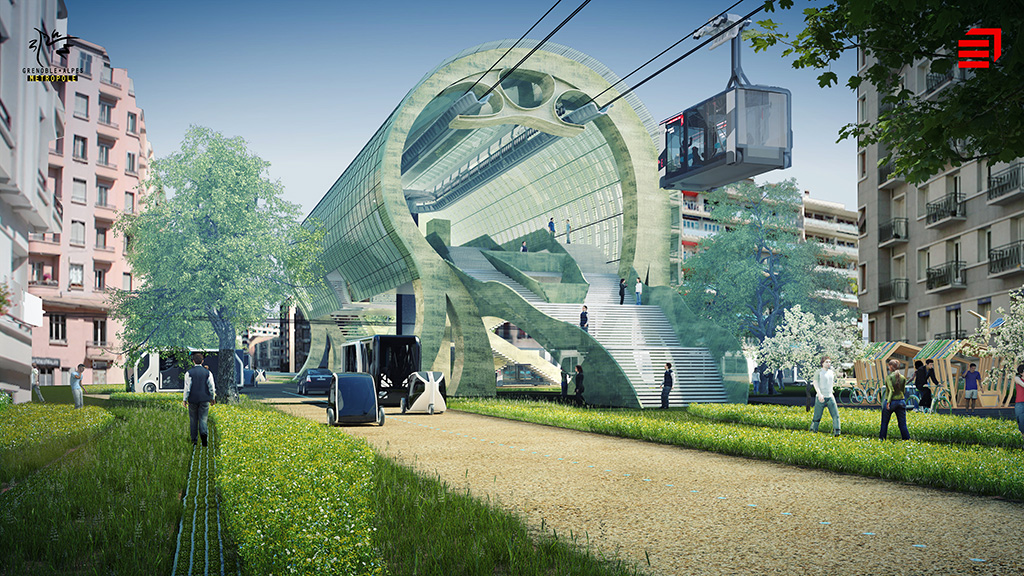 Image of tomorrow's city with cable car