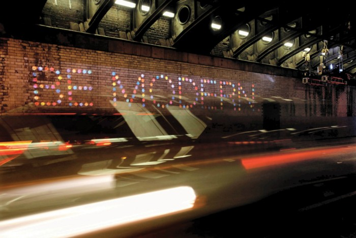 "The interior of the Great Bridgewater Tunnel has been lit up with the slogans ""Be Original"" & ""Be Modern"" - Picture by Christian Bragg"